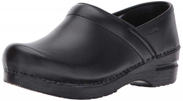 sanita black leather nursing shoes clogs with arch support dansko look alike