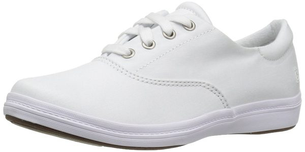small cute canvas white nursing shoes with laces minimalist simple