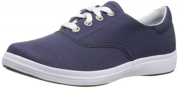 small cute navy blue nursing shoes with laces simple minimalist
