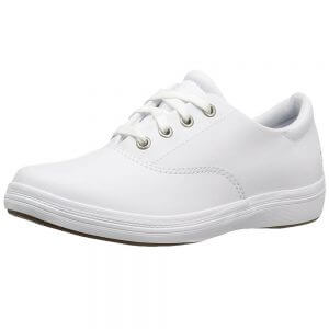 small cute white leather nursing shoes with laces minimalist simple