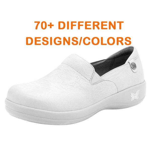 white cute nursing shoes professional leather clogs with patterns and designs